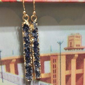 Dark blue druzy rectangular earrings